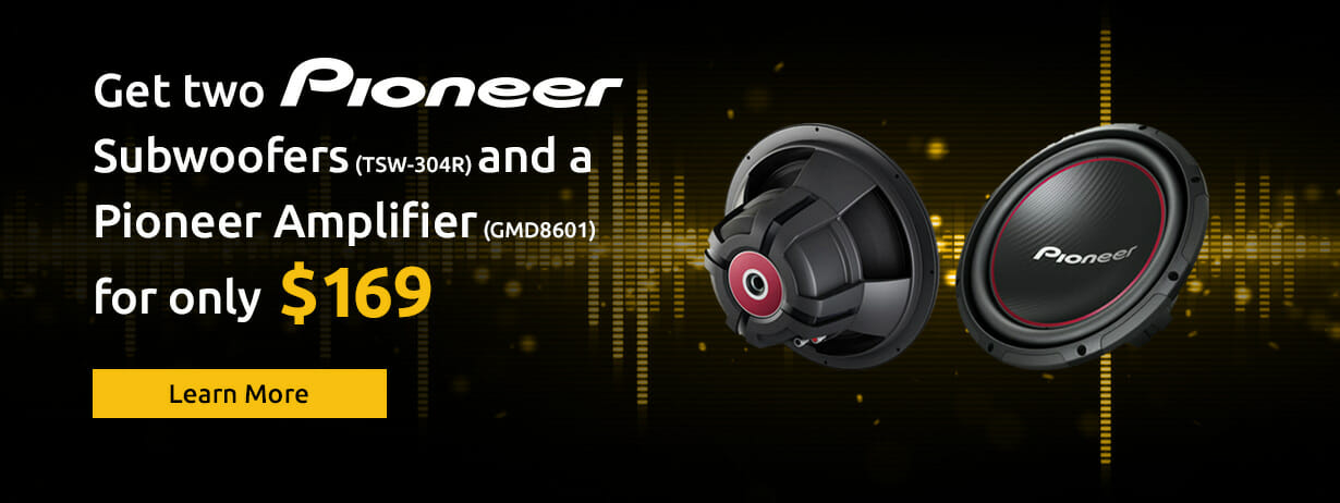 Get Two Pioneer Subwoofers and a Pioneer Amplifier for only $169